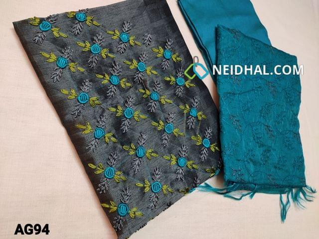 CODE AG94 : Designer Greyish Blue Jaquard Silk Cotton unstitched Salwar material(Coarse fabric requires lining) with With heavy thread work and bullion rose work on yoke, Siilk cotton bottom, Silk cotton Organza dupatta with heavy thread work