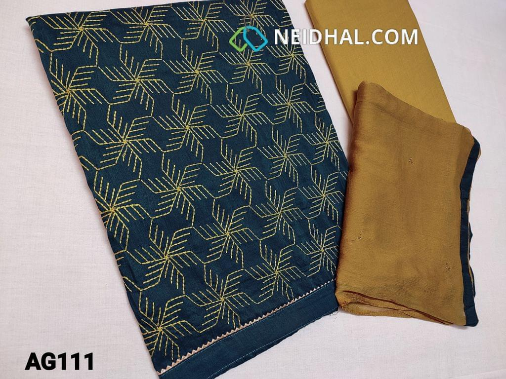 CODE AG111 : Teal Blue Silk cotton unstitched Salawar material(soft fabric requries lining) with heavy thread embroidery work on front side, plain back, daman taping, Mehandi green Cotton bottom, Chiffon dupatta with tapings and foil work all over.