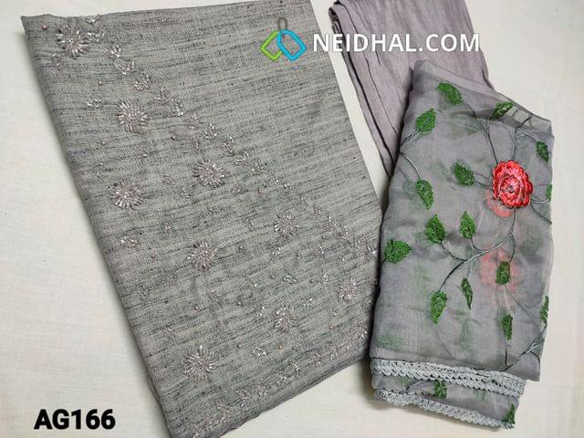 CODE AG166 : Designer Grey Spun Silk Cotton Unstitched Salwar material(Soft and textured fabric) with Heavy Pearl bead and cut bead work on yoke, Santoon or Silk Cotton bottom, Organza dupatta with heavy embroidery work and lace tapings