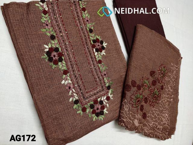 CODE AG172 : Designer Light Brown Accord unstitched Salwar material(coarse fabric, Netted, transparent, requires lining) Heavy Colorful Spring work, Bullion rose work, sequins work on yoke, Dark Maroon Santoon or silk cotton bottom, Accord dupatta with Thread and cut work on edges of dupatta