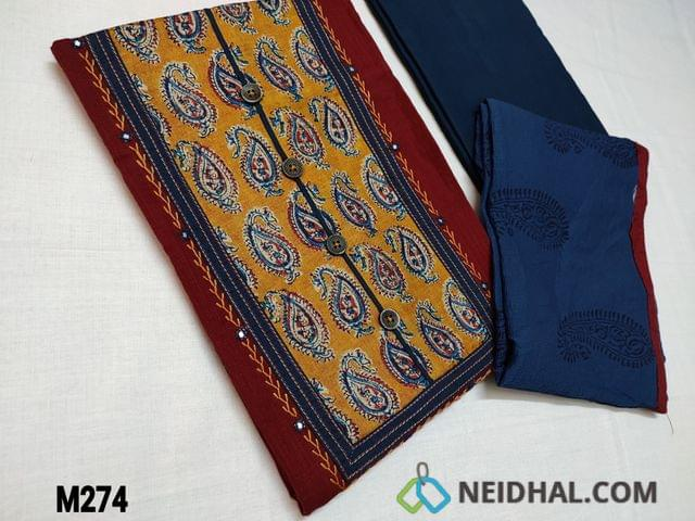 CODE M274 : Premium Maroon Slub Cotton unstitched Salwar material with Paisley print silk patch work on yoke highlighted with feather stich and faux mirror work, Daman piping, Blue Cotton bottom, Block printed Blue chiffon dupatta with tapings