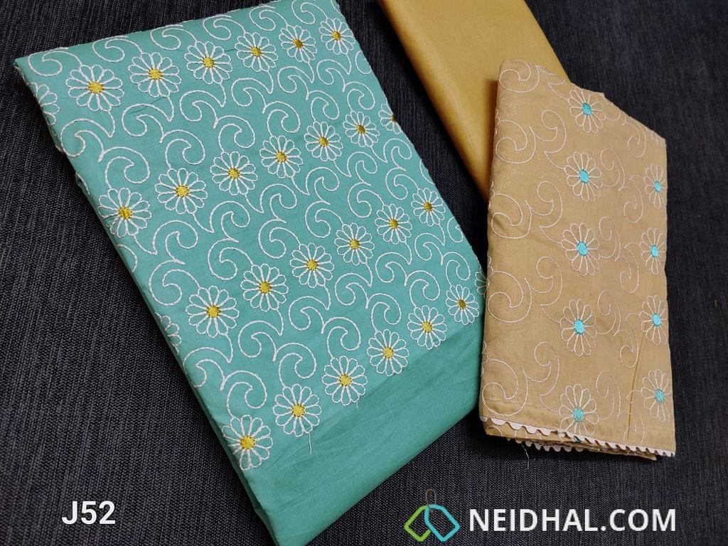 CODE J52 : Pastel Blue Cotton unstitched Salwar material (thin fabric requires lining) with Heavy thread work on yoke, lace daman, Light Fenu Greek yellow thin cotton bottom, Light Fenu Greek yellow Cotton dupatta with all over embroidery work and lace taping