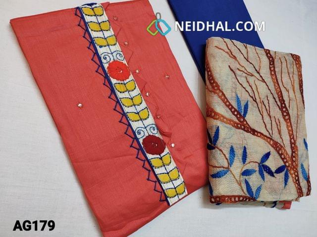 CODE AG179 : Designer Peach Satin Cotton unstitched salwar material(requires lining) with Kantha patch work (Design on yoke and its color will vary from piece to piece as these are hand made) on yoke, Faux mirror work on front side, plain back, Blue cotton bottom,  Hand drawn, Hand painted, Hand Embroidered kantha work on Golden Beige silk cotton dupatta with tapings (Design, Color, embroidery and print might vary for each set)