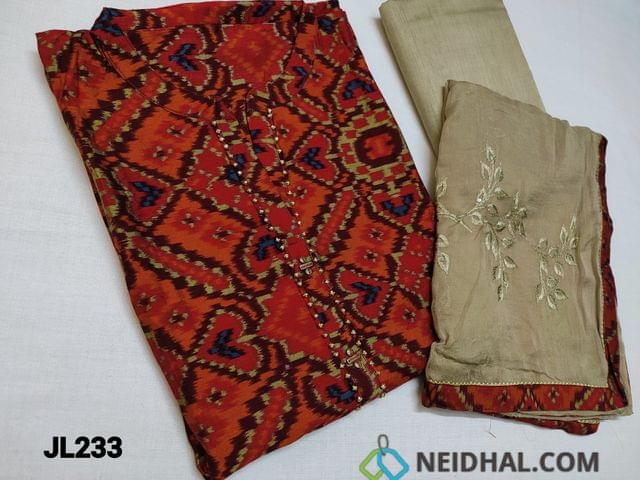 CODE JL224: Designer Patola Printed Red Viscous Silk cotton unstitched Salwar material(requires lining) with Mandarin Collar, work on yoke, Bead work on Daman, Greyish Beige Silk cotton bottom, Greyish Beige Chiffon dupatta with heavy thread and sequins work with taping