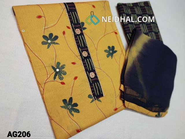 CODE AG206 : Yellow Soft unstitched Salwar material(thin fabric requires lining) with beautiful floral prints, simple yoke with gota lace work, faux mirror work on front side, Printed cotton bottom, Soft thin chiffon dupatta with taping