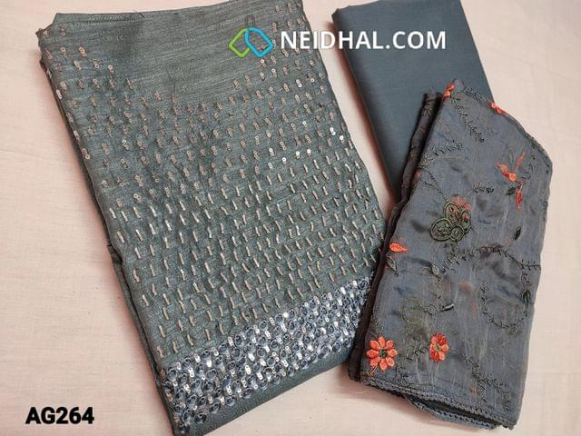 CODE AG264 : Grey Fancy Soft Silk cotton unstitched Salwar material(Soft , Shiny and flowy fabric, requires lining) with Sequins, cut bead and Thread work on yoke, Grey cotton bottom, Heavy embroidery work on Organza dupatta with lace tapins