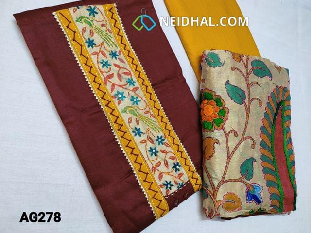 CODE AG278 : Designer Maroon Satin Cotton unstitched salwar material(requires lining) with Kantha patch work (Design on yoke and its color will vary from piece to piece) on yoke, Real mirror work, Yellow cotton bottom, kantha work on kalamkari printed Golden Beige silk cotton dupatta with tapings (colour of embroidery and print might vary for each set)