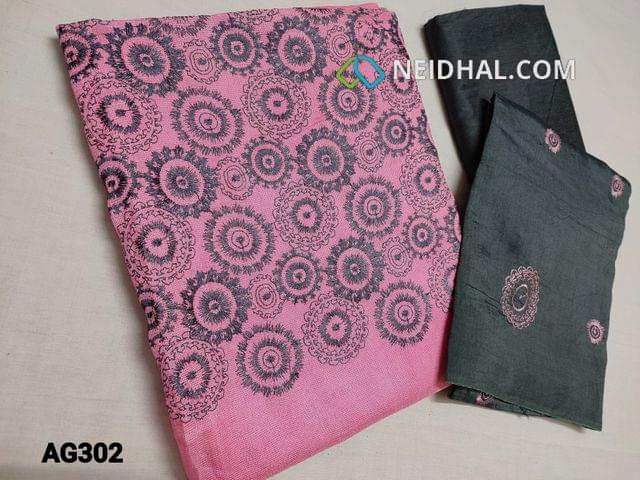 CODE AG302 :  Pink  Accord Fabric(Coarse and Netted fabric, requires lining) Unstitched Salwar material, with Heavy thread work on Yoke, Grey Silk cotton bottom, Soft Silk cotton dupatta with Embroidery work (Taping needs to be stitched)