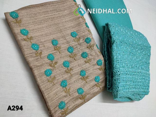 CODE AG294 : Designer Beige Semi Jute Silk Cotton unstitched Salwar material(coarse fabric, requires lining) with Heavy thread Bead work on yoke, Daman piping, Blue Cotton Bottom, Blue Hakoba Short width Heavy Dupatta with cutwork and thread work and lace tapings