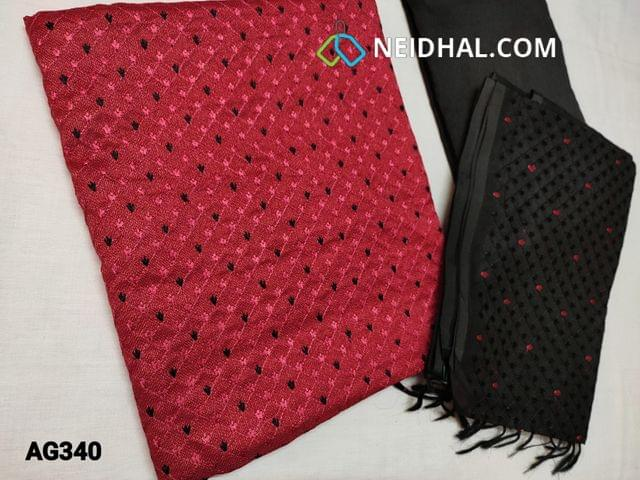 CODE AG340 :  Pinkish Red Accord Fabric(Coarse and Netted fabric, requires lining) Unstitched Salwar material, with Heavy thread work on Yoke, Plain back, Black Silk cotton bottom, Silk cotton dupatta with  Heavy Embroidery work (Taping needs to be stitched)