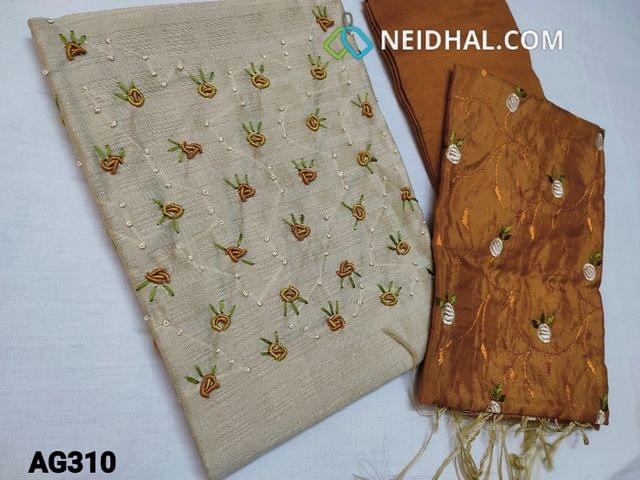 CODE AG310 : Designer Beige Jaquard Silk Cotton unstitched salwar material(coarse fabric, requires lining) with Spring Embroidery work and pearl bead work  on yoke, Honey Brown santoon or silk cotton bottom, embroidery work on Soft silk Cotton dupatta.
