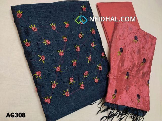 CODE AG308 : Designer Dark Navy Blue Jaquard Silk Cotton unstitched salwar material(coarse fabric, requires lining) with Spring Embroidery work and pearl bead work  on yoke, Peachish Pink santoon or silk cotton bottom, embroidery work on Soft silk Cotton dupatta.
