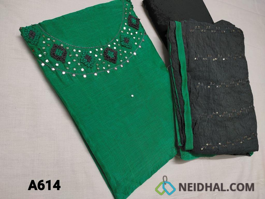 CODE A614 : Green Silk Cotton unstitched Salwar material(thin fabric requries lining) with Faux mirror work, French knot work on yoke, Thin Grey Cotton bottom, Soft Grey silk cotton dupatta with Sequins and thread work
