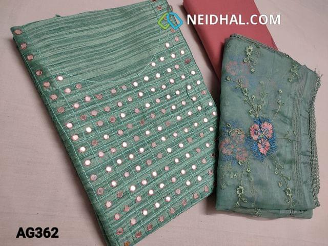 CODE AG362 : Designer Sober Blue Silk Cotton unstitched Salwar material(Coarse and Thin Fabric, Requires lining) with faux mirror work on yoke, Pink Cotton bottom, Organza dupatta with heavy thread work and lace taping