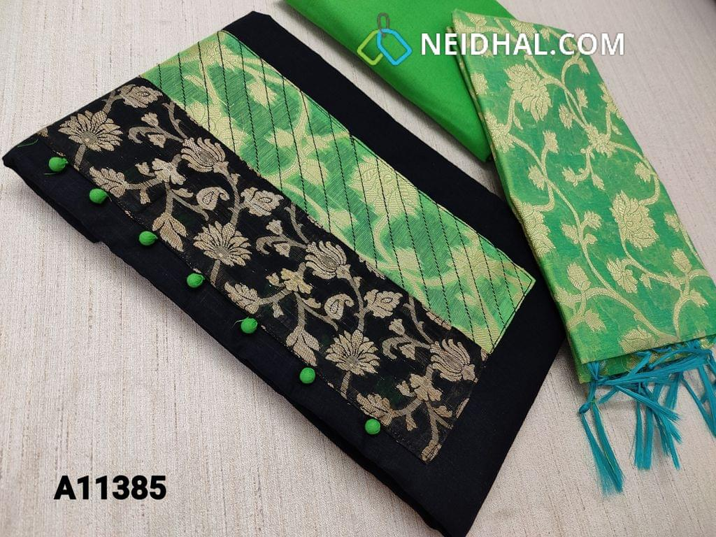CODE A11385 : Black Cotton unstitched salwar material(requires lining) with potli buttons and zari embroidery patch work on yoke, plain back side, daman patch, green cotton bottom, benaras weaving silk cotton dupatta with tassels