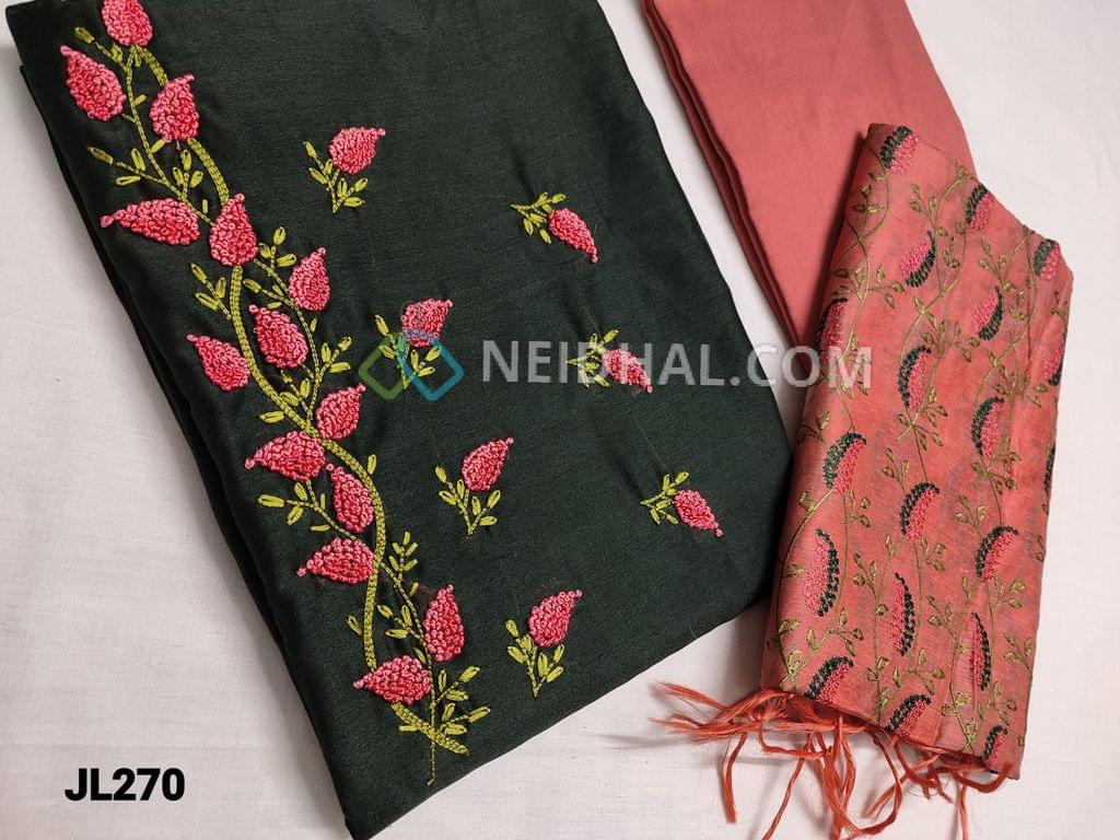 CODE JL270 : Dark Bottle Green Fancy Soft Silk Cotton Unstitched Salwar material(Silky fabric, thin fabric, requires lining) with Heavy french knot and thread work on yoke, Peachish Pink Silk Cotton bottom, Embroidery work on Peachish Pink Fancy Silk cotton dupatta with tassels.