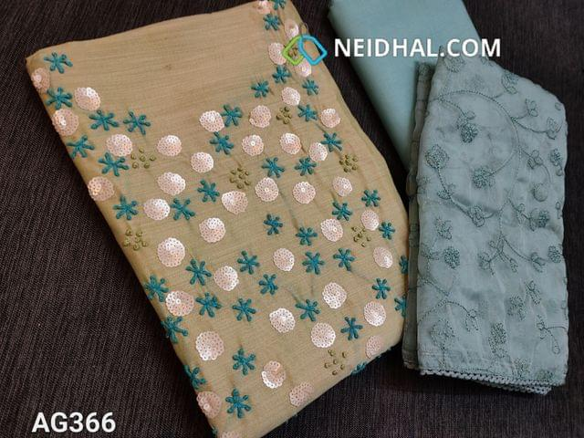 CODE AG366 : Sober Green Silk Cotton unstitched Salwar material(thin fabric, requires lining) with heavy french knot, Sequins work on yoke, foil mirror work on front side, plain back, Sober Blue Cotton bottom, Blue Organza dupatta with heavy thread work and lace taping