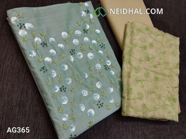 CODE AG365 : Sober Blue Silk Cotton unstitched Salwar material(thin fabric, requires lining) with heavy french knot, Sequins work on yoke, foil mirror work on front side, plain back, Sober Green Cotton bottom,  Green Organza dupatta with heavy thread work and lace taping