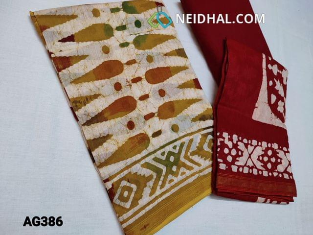CODE AG386 : Designer Premium Chanderi Silk Cotton unstitched Salwar material(thin fabric requires lining) with original Wax batick dye patterns on both sides, Maroonish Red soft cotton bottom, Original Wax batik dye patterns on Chanderi silk cotton dupatta(Taping needs to be stitched)