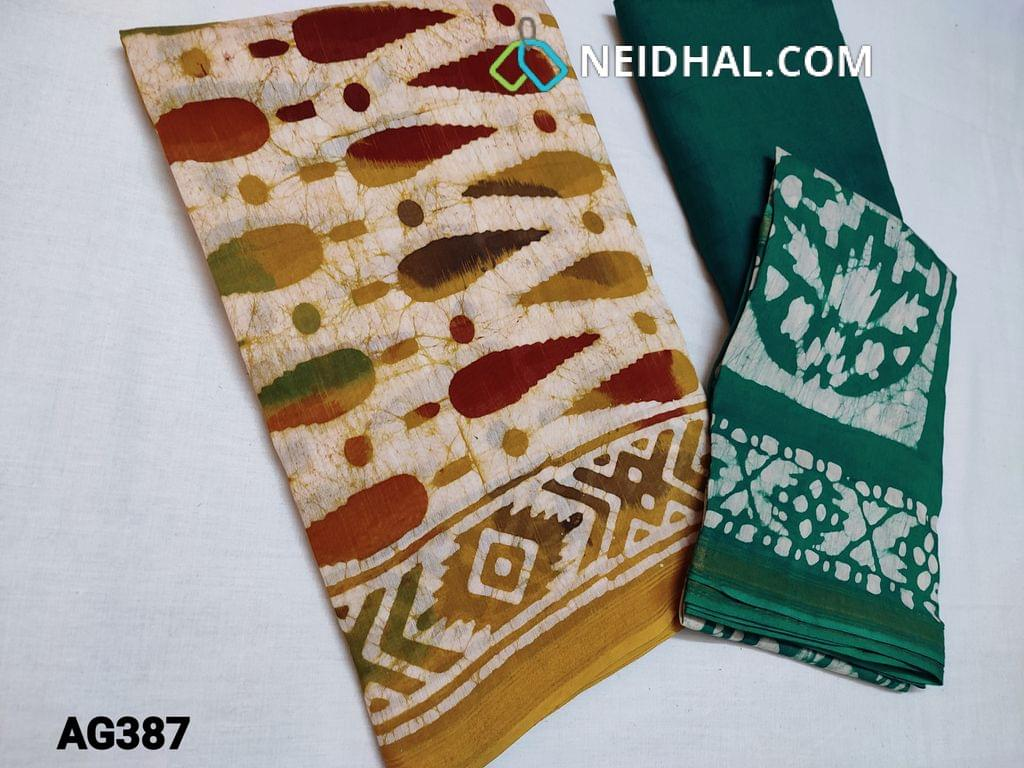 CODE AG387 : Designer Premium Chanderi Silk Cotton unstitched Salwar material(thin fabric requires lining) with original Wax batick dye patterns on both sides, Green soft cotton bottom, Original Wax batik dye patterns on Chanderi silk cotton dupatta(Taping needs to be stitched)