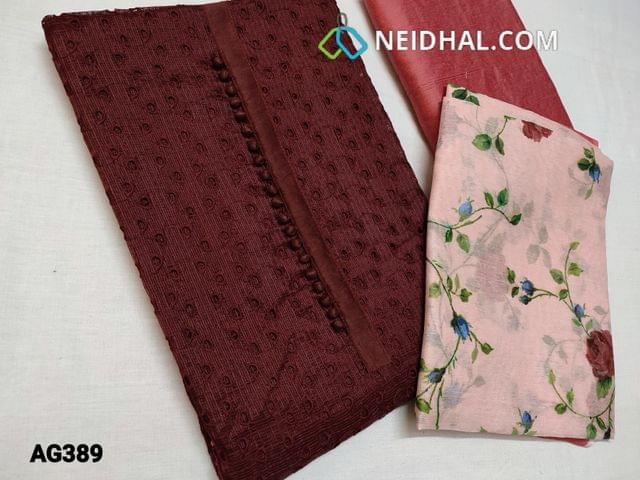 CODE AG389 :  Dark Maroon Fancy Silk Cotton Kota(Netted Fabric, Coarse fabric requires lining)  with cut work and potli buttons on yoke, Peachish Pink Silk cotton bottom, Digital printed Silk Cotton dupatta(Taping needs to be stitched)