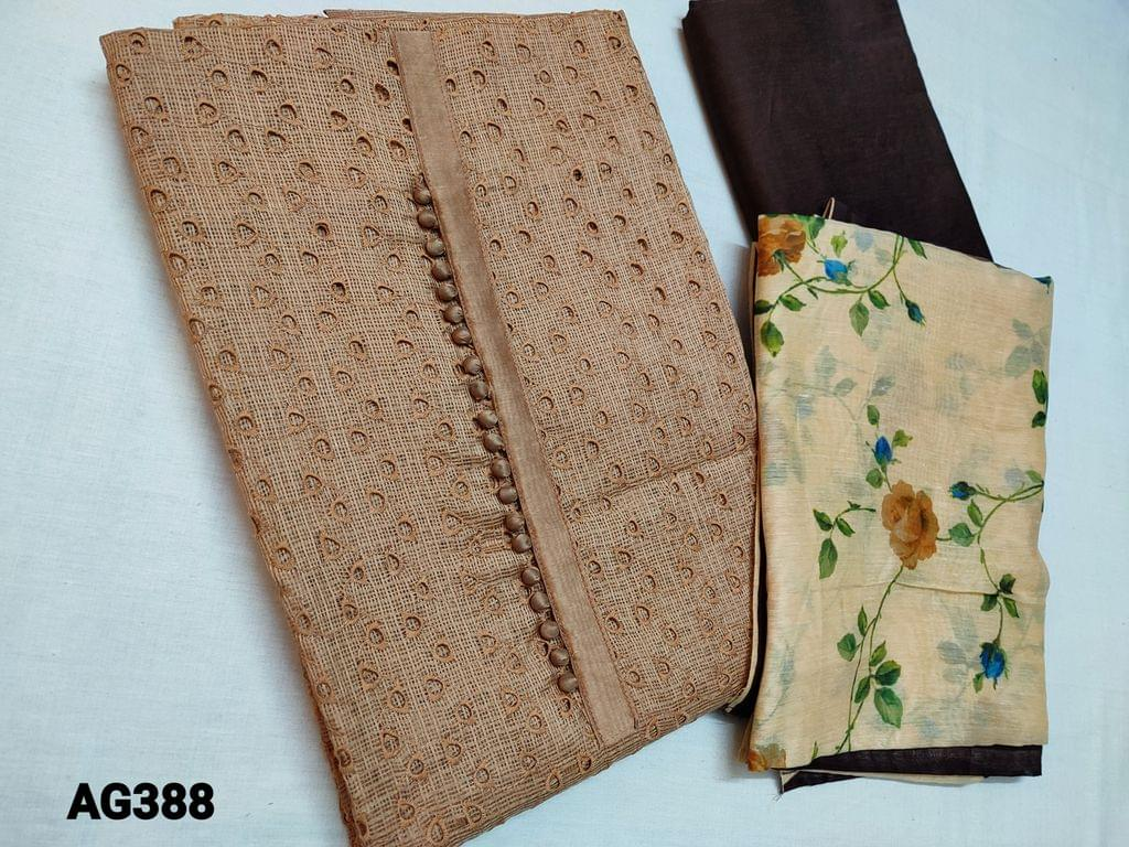 CODE AG388 :  Dark Beige Fancy Silk Cotton Kota(Netted Fabric, Coarse fabric requires lining)  with cut work and potli buttons on yoke, Brown Silk cotton bottom, Digital printed Silk Cotton dupatta(Taping needs to be stitched)
