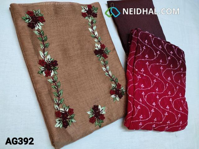 CODE AG392 : Designer Brown Silk Cotton unstitched Salwar material(Textured fabric, Coarse Fabric, thin fabric, Requires lining) with Heavy Thread Embroidery work on yoke, Dark Maroon Silk cotton bottom, Multi shaded chiffon dupatta with Heavy thread and sequins work with lace taping
