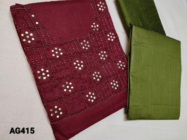 CODE AG415 : Maroonish Red Accord fabric (Netted, Coarse fabric requires lining) with faux mirror, sugar bead and cut bead work on yoke, Green silk cotton bottom, Plain Silk cotton dupatta with tassels