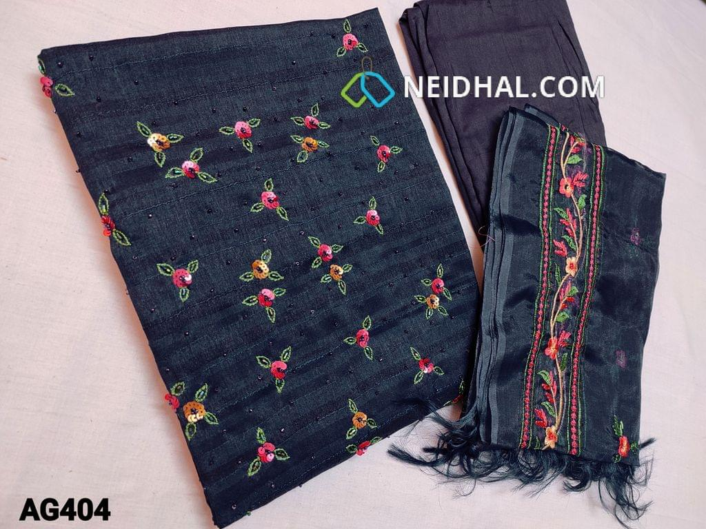 CODE AG404 : Navy Blue Soft Silk cotton unstitched Salwar material(Soft thin fabric, requires lining) with Sequins, bead and thread work on yoke, Blue Santoon or Silk cotton bottom, Organza dupatta with the heavy thread embroidery work (Taping needs to be stitched)