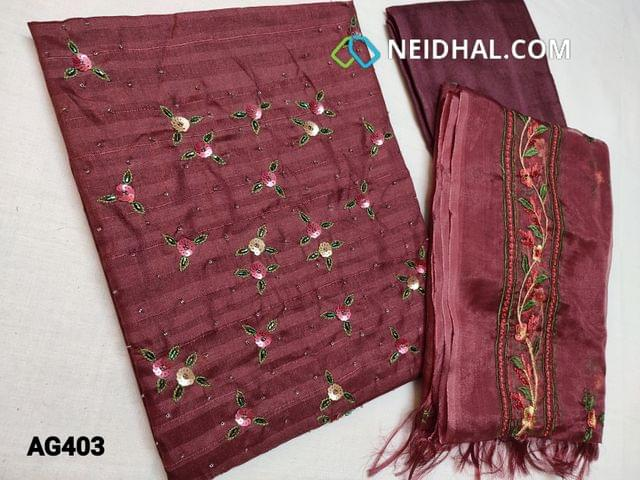 CODE AG403 : Maroon Soft Silk cotton unstitched Salwar material(Soft thin fabric, requires lining) with Sequins, bead and thread work on yoke, Maroon Santoon or Silk cotton bottom, Organza dupatta with the heavy thread embroidery work (Taping needs to be stitched)