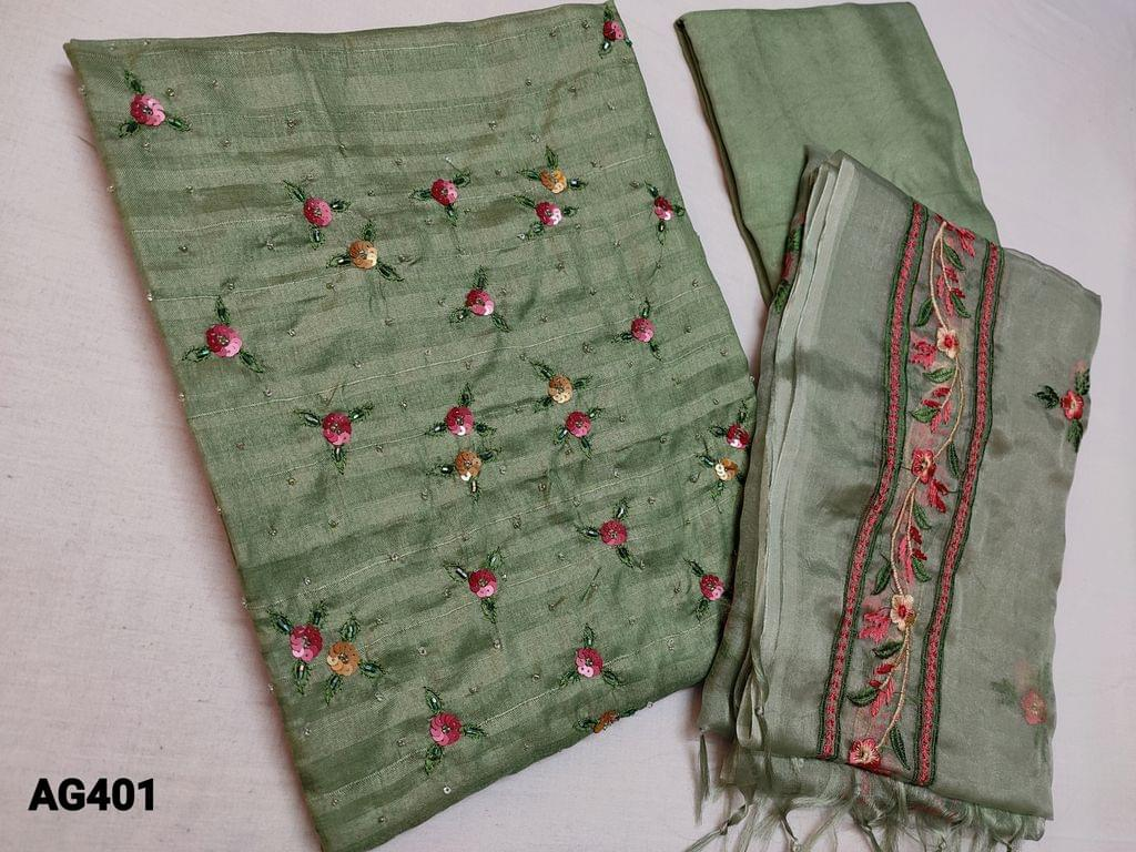 CODE AG401 : Green Soft Silk cotton unstitched Salwar material(Soft thin fabric, requires lining) with Sequins, bead and thread work on yoke, Green Santoon or Silk cotton bottom, Organza dupatta with the heavy thread embroidery work (Taping needs to be stitched)