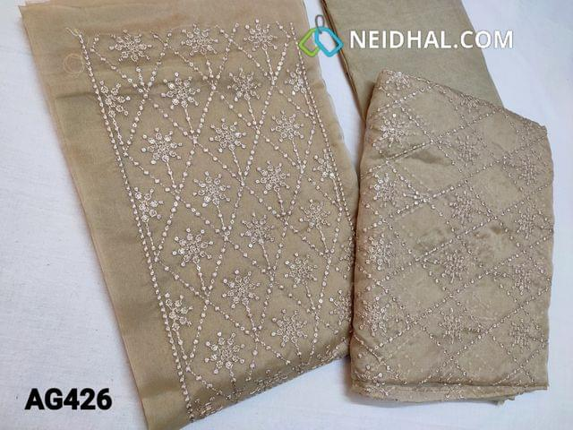 CODE AG426 : Designer Beige Organza Unstitched Salwar material(thin fabric requires lining) with Heavy thread embroidery work on top, soft Santoon bottom, Organza dupatta with embroidery work