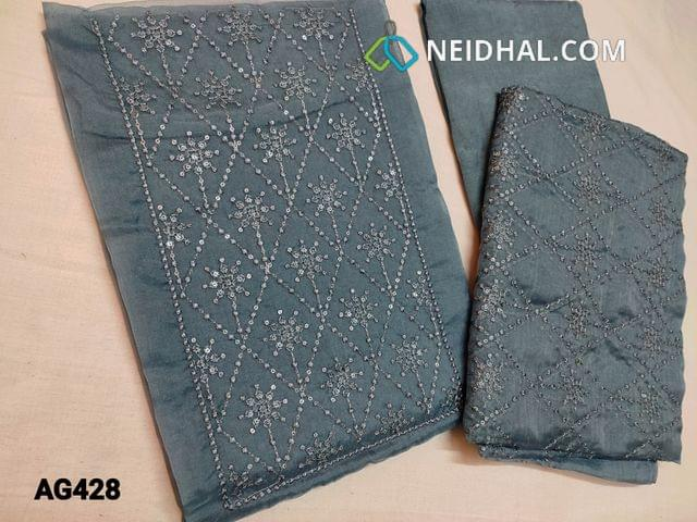 CODE AG428 : Designer Blueish Grey Organza Unstitched Salwar material(thin fabric requires lining) with Heavy thread embroidery work on top, soft Santoon bottom, Organza dupatta with embroidery work