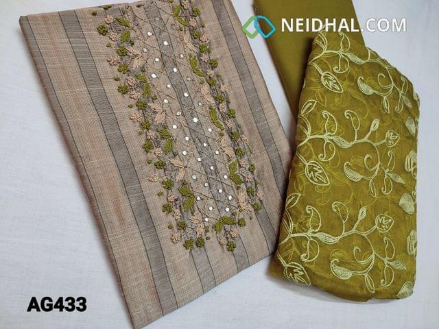 CODE AG433 : Printed Sober Beige Silk Cotton unstitched Salwar material(thin fabric, Requires lining) with Thread work, French knot work, Faux mirror work on yoke, Green Cotton bottom, Green Organza dupatta with Heavy Embroidery work and taping