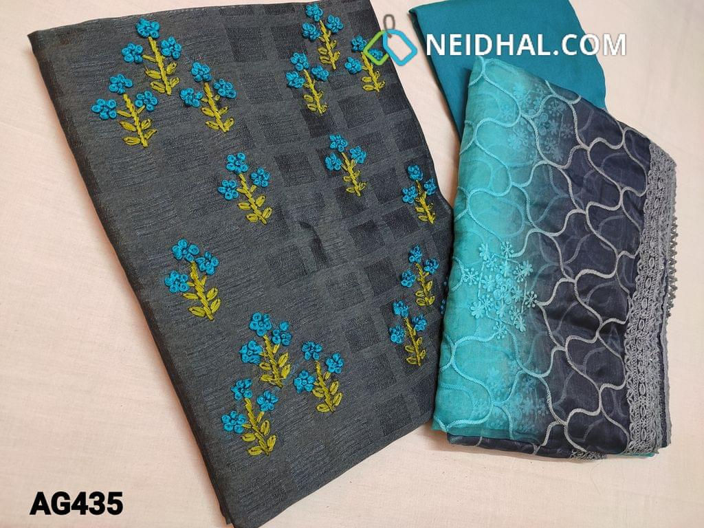 CODE AG435 : Designer Grey Jaquard Silk Cotton unstitched Salwar material(Textured fabric, Coarse Fabric, thin fabric, Requires lining) with Heavy Thread Embroidery work on yoke, Blue Silk cotton bottom, Dual Shaded Organza dupatta with heavy thread embroidery and sequins work and taping