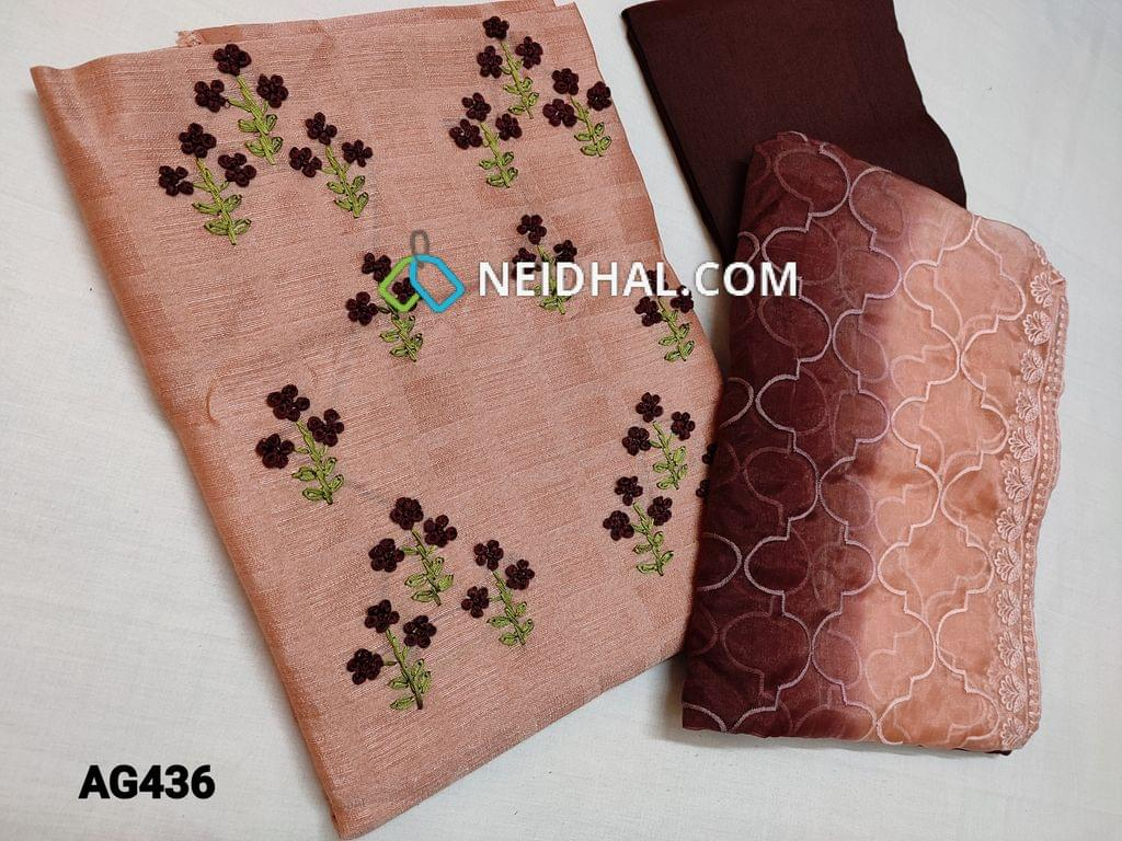 CODE AG433 : Designer Peachish Pink Jaquard Silk Cotton unstitched Salwar material(Textured fabric, Coarse Fabric, thin fabric, Requires lining) with Heavy Thread Embroidery work on yoke, Maroon Silk cotton bottom, Dual Shaded Organza dupatta with heavy thread embroidery and sequins work and taping