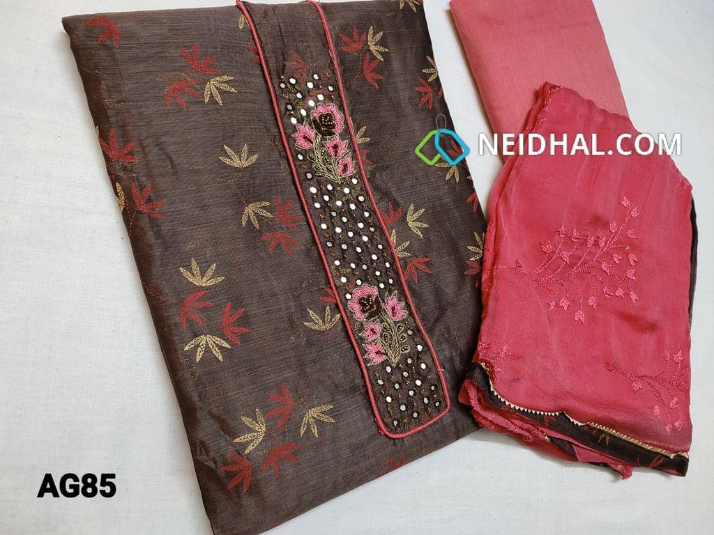 CODE AG85 : Designer Grey printed Silk cotton unstitched Salwar material(requires lining) with Faux mirror bead and thread work on yoke, Peachish Pink silk cotton bottom, peachish pink chiffon dupatta with sequins and thread embroidery work and taping
