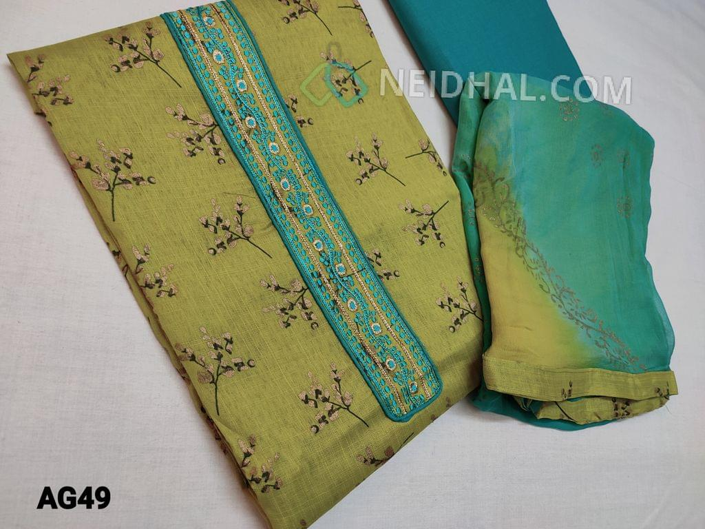 CODE AG49 : Green Slub Mix Cotton(NOT PURE COTTON) unstitched Salwar material(Coarse Fabric Requires lining) with Floral prints, golden prints, Yoke patch with Thread and zari thread work, Turquoise Green Cotton bottom, gold printed Chiffon dupatta with tapings