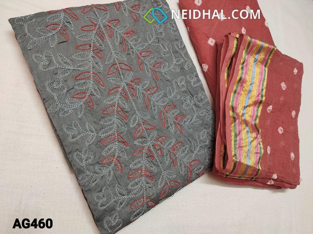 CODE AG460: Premium Grey Satin Cotton unstitched Salwar material(lining optional) with heavy Thread work on front side, plain back, Real Bandhani Dyed Sober Peach Cotton bottom, Real Bandhani dyed Sober Peach soft cotton dupatta with Resham Borders (Taping needs to be stitched)