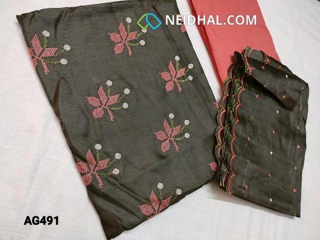 CODE AG491 : Dark Grey Soft Fancy Silk Cotton unstitched Salwar material(Soft, Silky, Shiny fabric, requires lining) with Cross stitch work on yoke, Peachish Pink silk cotton bottom, Polka dots Thread embroidery work on Soft Silk cotton dupatta with cut work tapings