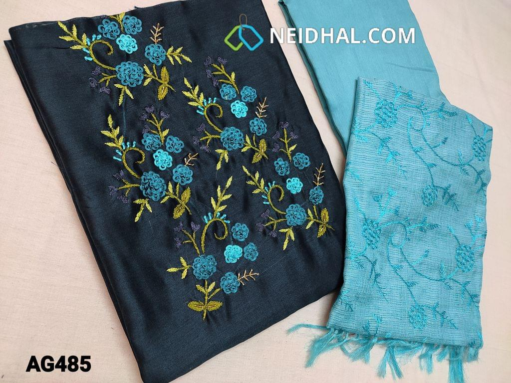 CODE AG485 : Blue Soft Silk cotton unstitched Salwar material(shiny, thin fabric, requires lining) with Thread and cut bead work on yoke, Blue silk cotton bottom, Blue fancy kota silk cotton dupatta with heavy thread work