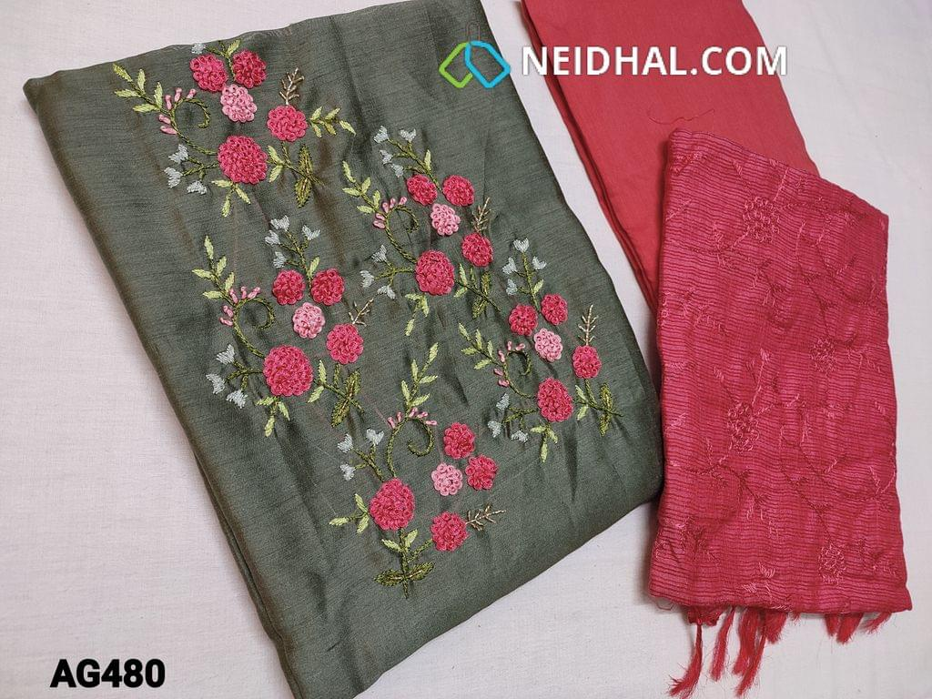CODE AG480 : Olive Green Soft Silk cotton unstitched Salwar material(shiny, thin fabric, requires lining) with Thread and cut bead work on yoke, Peachish Pink silk cotton bottom, Peachish Pink fancy kota silk cotton dupatta with heavy thread work