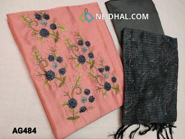 CODE AG484 : Pink Soft Silk cotton unstitched Salwar material(shiny, thin fabric, requires lining) with Thread and cut bead work on yoke, Grey silk cotton bottom,Grey fancy kota silk cotton dupatta with heavy thread work