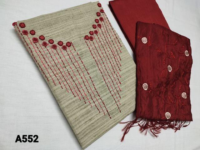 CODE A552 : Designer Beige Silk Cotton unstitched Salwar material with Bullion rose work and thread work on yoke, Self textured fabric, Maroon Silk Cotton bottom, Silk cotton dupatta with all over thread work