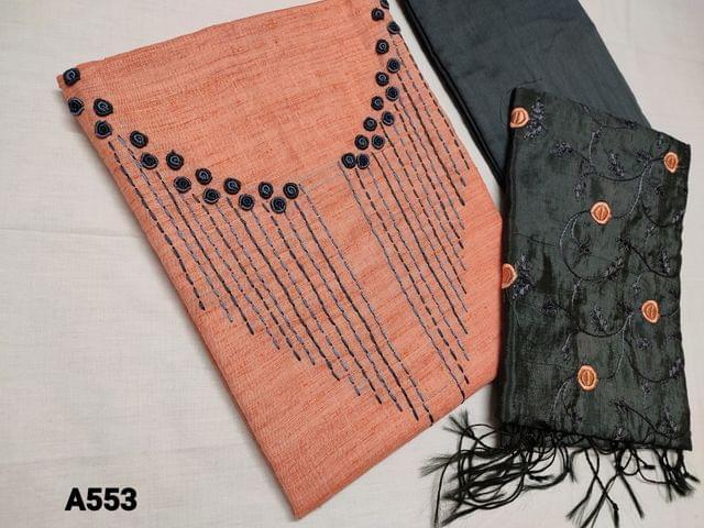 CODE A553 : Designer Peach Silk Cotton unstitched Salwar material with Bullion rose work and thread work on yoke, Self textured fabric, Grey Silk Cotton bottom, Silk cotton dupatta with all over thread work