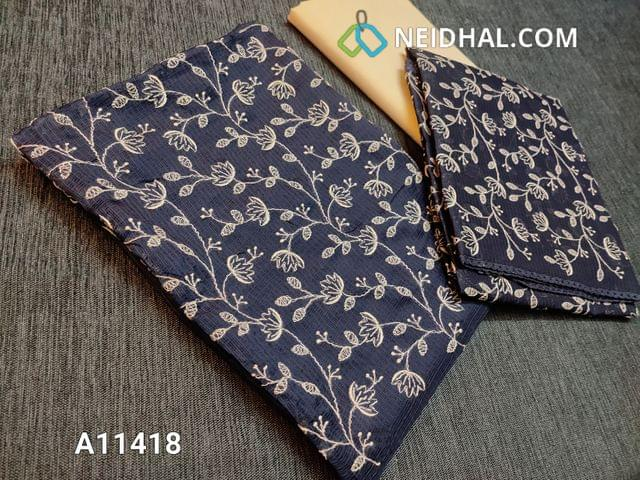 CODE A11418 : Premium Dark Blue Kota fabric unstitched salwar material(requires lining) with embroidery work on yoke, half white cotton bottom, embroidery work on kota fabric dupatta with tapings