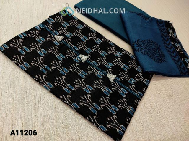 CODE A11206 :  Premium Ikkat Printed Black Cotton unstitched Salwar material(requires lining) with fancy buttons on yoke, daman patch, blue cotton bottom, printed chiffon dupatta with tapi
