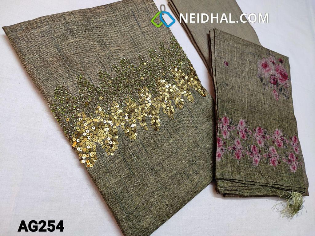 CODE AG254 : Designer Green Semi Tussar (stiff and Coarse fabric, requires lining) with heavy bead and sequins work on yoke, Ombra pattern, Santoon bottom, Printed Semi Tussar dupatta with tassels