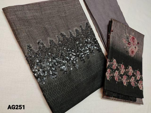 CODE AG251 : Designer Grey and Black Semi Tussar (stiff and Coarse fabric, requires lining) with heavy bead and sequins work on yoke, Ombra pattern, Santoon bottom, Printed Semi Tussar dupatta with tassels