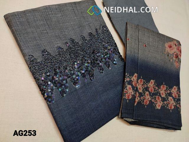CODE AG253 : Designer Blue Semi Tussar (stiff and Coarse fabric, requires lining) with heavy bead and sequins work on yoke, Ombra pattern, Santoon bottom, Printed Semi Tussar dupatta with tassels